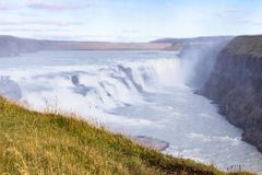 View Gullfoss waterfall on Olfusa river in autumn. Travel to Iceland - view of Gullfoss waterfall on Olfusa river in autumn Stock Photography