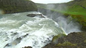 View of Gullfoss Waterfalls in the canyon of the Hvita river stock video