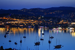 View of Gumbet Bay by night. Turkish Riviera Stock Photo