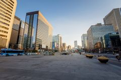 View of Gwanghwamun plaza in central seoul city royalty free stock images