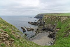 A View of The Gwithian Coastline. A view of the rocky Gwithian Coastline royalty free stock photos
