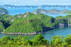 View on Ha Long Bay from the Cat Ba Island Royalty Free Stock Photos