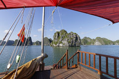 A view of Ha Long Bay from the deck Stock Photos