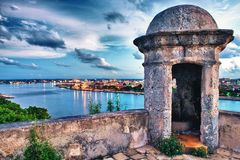 View of habana bay taken to the morro castle. View of habana bay and city taken to the morro castle royalty free stock photo