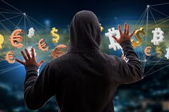 Hacker man in the dark using computer to hack data and informati Royalty Free Stock Photography
