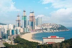 View of Haeundae beach in Busan. Haeundae beach is Busan`s most Royalty Free Stock Image
