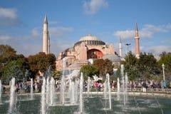 View on Haghia Sophia through fountain. On Sultanahmet square stock photos