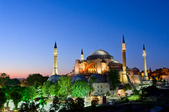 View of Hagia Sofia or Ayasofya at night in Istanbul. Turkey Royalty Free Stock Photos
