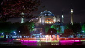 View of Hagia Sofia or Ayasofya at night in Istanbul, Turkey stock video footage
