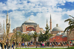 View of Hagia Sophia and the area with tourists, Istanbul, Turkey Royalty Free Stock Image