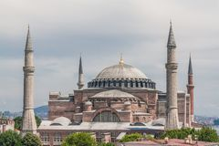 View of Hagia Sophia, Aya Sofya, Istanbul, Turkey. View of Hagia Sophia, Aya Sofya, from a high point in Istanbul, Turkey royalty free stock photo