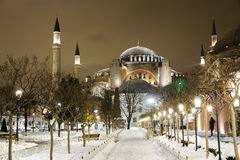 View of Hagia Sophia, Aya Sofya, museum in a snowy winter night Stock Photo
