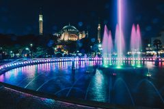 View of Hagia Sophia with fountain in the foreground, Sultanahmet Park stock photography