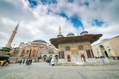 View of the Hagia Sophia and Fountain of Sultan Ahmed III royalty free stock photos