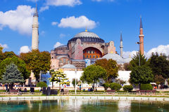A view of Hagia Sophia in Istanbul. Turkey under blue sky, the lake Royalty Free Stock Photos