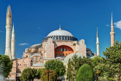View of the Hagia Sophia in Istanbul, Turkey. Hagia Sophia in Istanbul, Turkey. Hagia Sophia is the greatest monument of Byzantine Culture stock photo