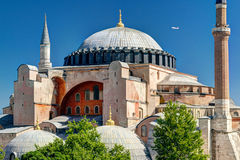View of the Hagia Sophia in Istanbul, Turkey. Hagia Sophia in Istanbul, Turkey. Hagia Sophia is the greatest monument of Byzantine Culture royalty free stock images