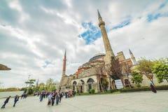 View of the Hagia Sophia. ISTANBUL, TURKEY: View of the Hagia Sophia, place in front of the Imperial Gate of Palace Topkapi on APRIL 18, 2018 royalty free stock photos