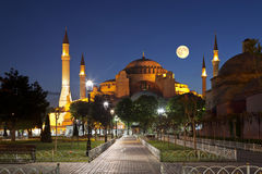 View of the Hagia Sophia at moon night, Royalty Free Stock Photos