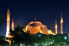View of the Hagia Sophia at night in Istanbul Stock Photos