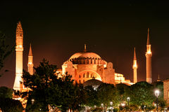 View of the Hagia Sophia at night in Istanbul Royalty Free Stock Photography