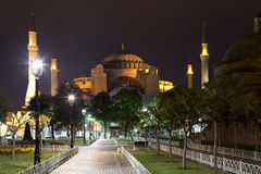 View of the Hagia Sophia at night in Istanbul Royalty Free Stock Photos