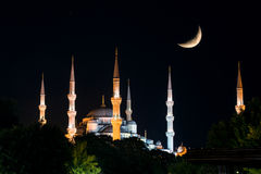 View of the Blue Mosque (Sultanahmet Camii) at nig Royalty Free Stock Images