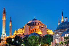 View of the Hagia Sophia at night in Istanbul, Turkey. Hagia Sophia is the greatest monument of Byzantine Culture stock images