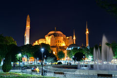 View of the Hagia Sophia at night in Istanbul, Turkey Royalty Free Stock Image