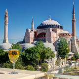 View of the Hagia Sophia from the restaurant, Istanbul Stock Photo