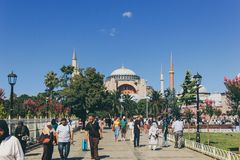 A view of Hagia Sophia during Summertime stock image