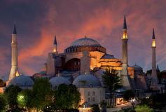 View of the Hagia Sophia at sunset, Istanbul, Royalty Free Stock Photo