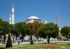 The view of Hagia Sophia through the trees of Sultan Ahmet Park, Royalty Free Stock Photo