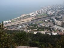 View of Haifa Israel from the mountain. City sea Royalty Free Stock Photos