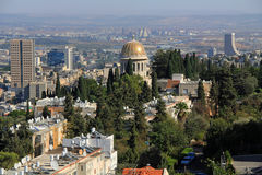 View of Haifa Israel with Nuclear Plant and Shrine of Bab Royalty Free Stock Photos