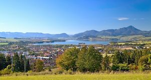 View from Haj-Nicovo to the part of Liptovsky Mikulas and the well-known dam Liptovska Mara stock photography