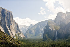 View of Half Dome with Bridaleveil falls stock images