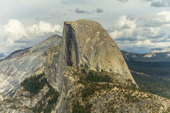 View on half dome rock in Yosemite at the top Royalty Free Stock Photo