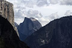 View Of Halfdome And El Capitan Cloudy Day stock photos