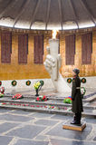 View of the Hall of Military Glory, honor guard and the eternal flame in the historical-memorial complex Stock Photos