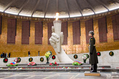View of the Hall of Military Glory, honor guard and the eternal flame in the historical-memorial complex Royalty Free Stock Photo