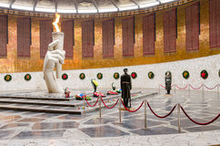 View of the Hall of Military Glory, honor guard and the eternal flame in the historical-memorial complex Royalty Free Stock Photos