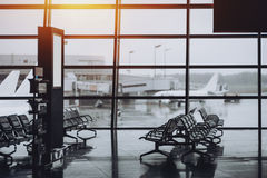 View of hall in modern airport terminal Stock Photos