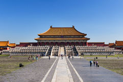 View of the Hall of Supreme Harmony in the Forbidden City, Beijing, China. Stock Photos