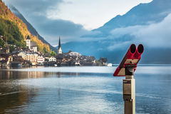 View of Hallstatt in the Alps stock photography