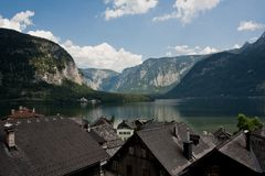 View on Hallstatt, Alps and lake Stock Photography