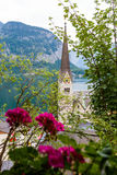 View of Hallstatt Christuskirche church bell tower Stock Images