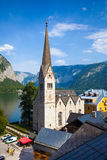 View of Hallstatt Christuskirche church bell tower Stock Photo
