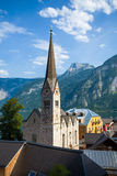View of Hallstatt Christuskirche church bell tower Royalty Free Stock Image