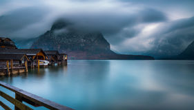 View of the Hallstatt from lake Hallstater See, Austria Royalty Free Stock Images